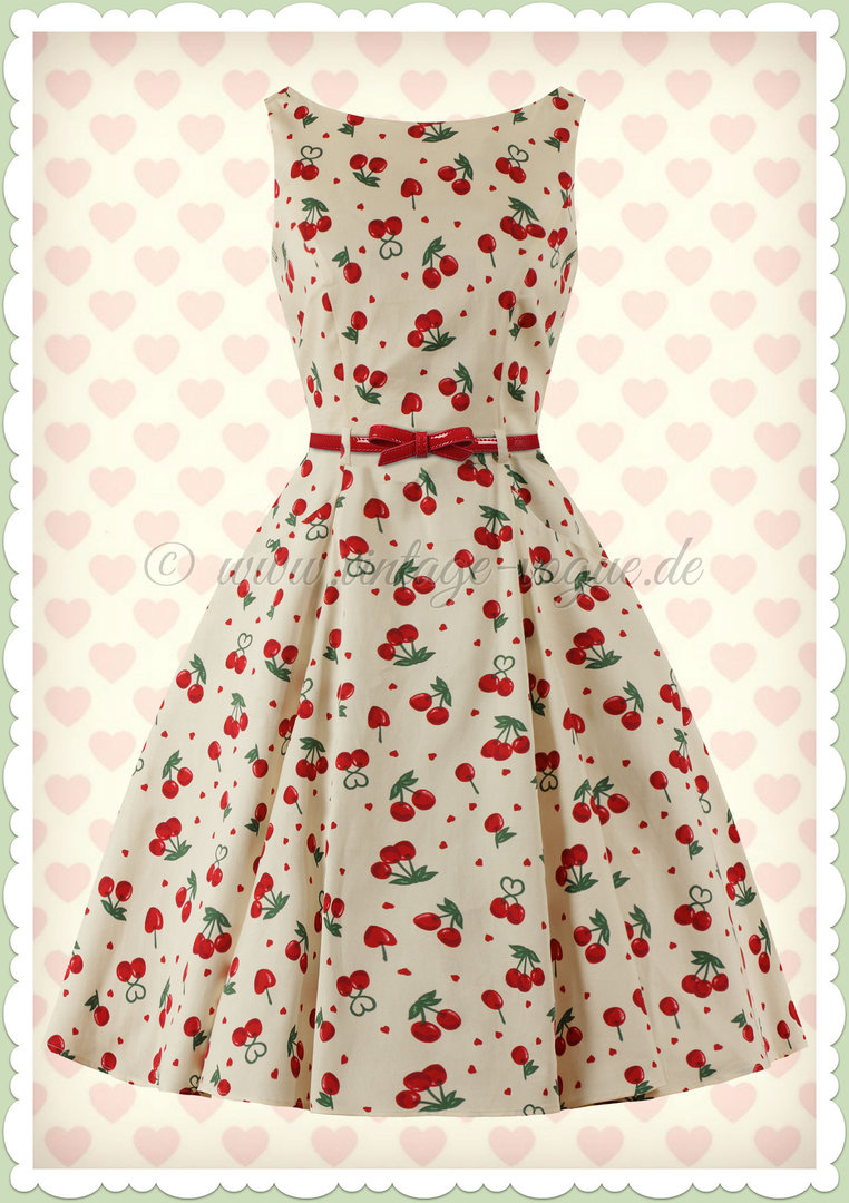 Collectif 50er Jahre Retro Rockabilly Kirschen Swing Kleid - Cherry Love - Ivory