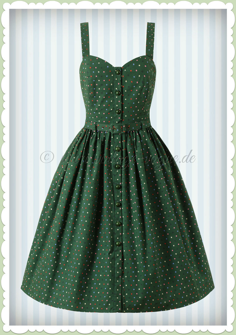 Collectif 50er Jahre Retro Rockabilly Polka Dot Swing Kleid - Jemima - Grün