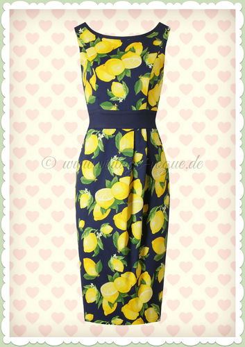 Banned 60er Jahre Rockabilly Zitronen Pencil Kleid - Lemon - Navy
