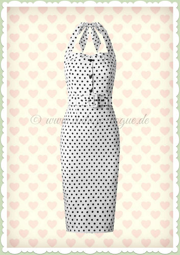 Collectif 50er Jahre Pin Up Rockabilly Punkte Pencil Kleid  - Wanda - Weiß