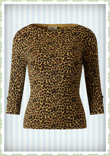 Banned 40er Jahre Retro Leoparden Jumper - Rocky Top - Leopard