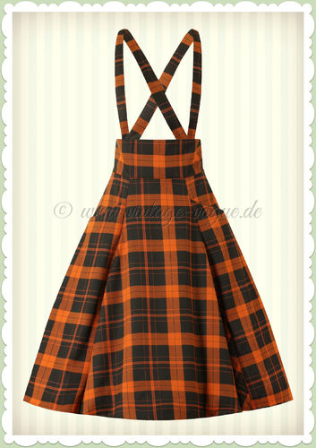 Collectif 50er Jahre Vintage Tartan Swing Rock - Alexa - Orange Schwarz