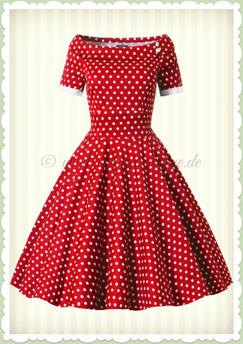Dolly & Dotty 50er Jahre Rockabilly Polka Dot Kleid - Darlene - Red