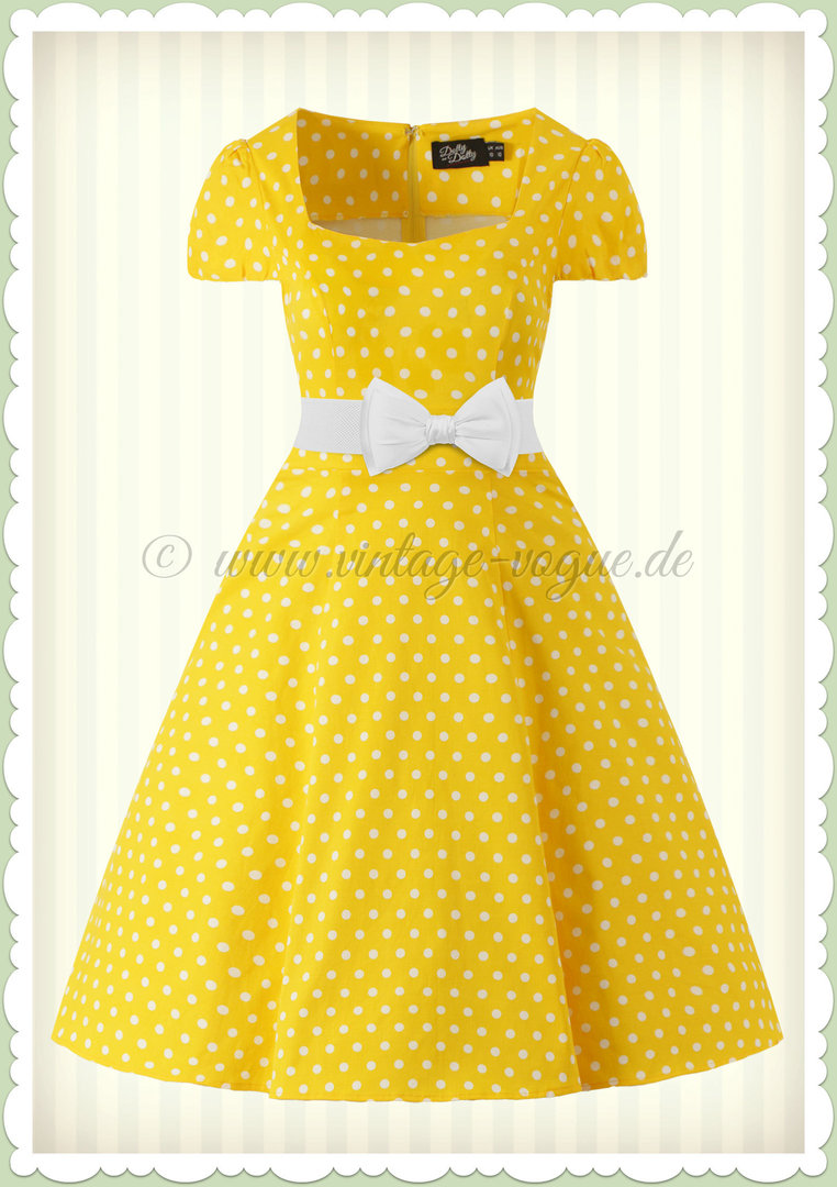 Dolly & Dotty 50er Jahre Rockabilly Punkte Kleid - Claudia - Gelb