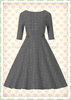 Banned 50er Jahre Retro Tartan Swing Kleid - Cheeky Check - Grau