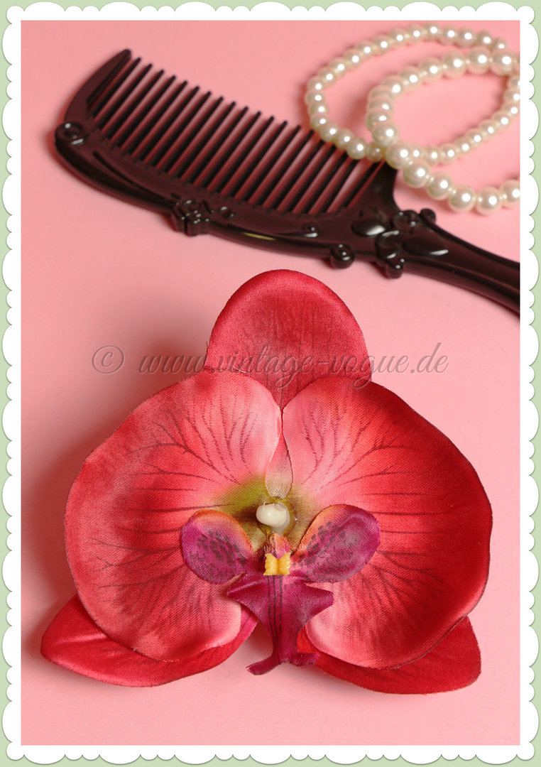 Lady Luck 50er Jahre Retro Vintage Haarblume Orchidee - Cece - Rot