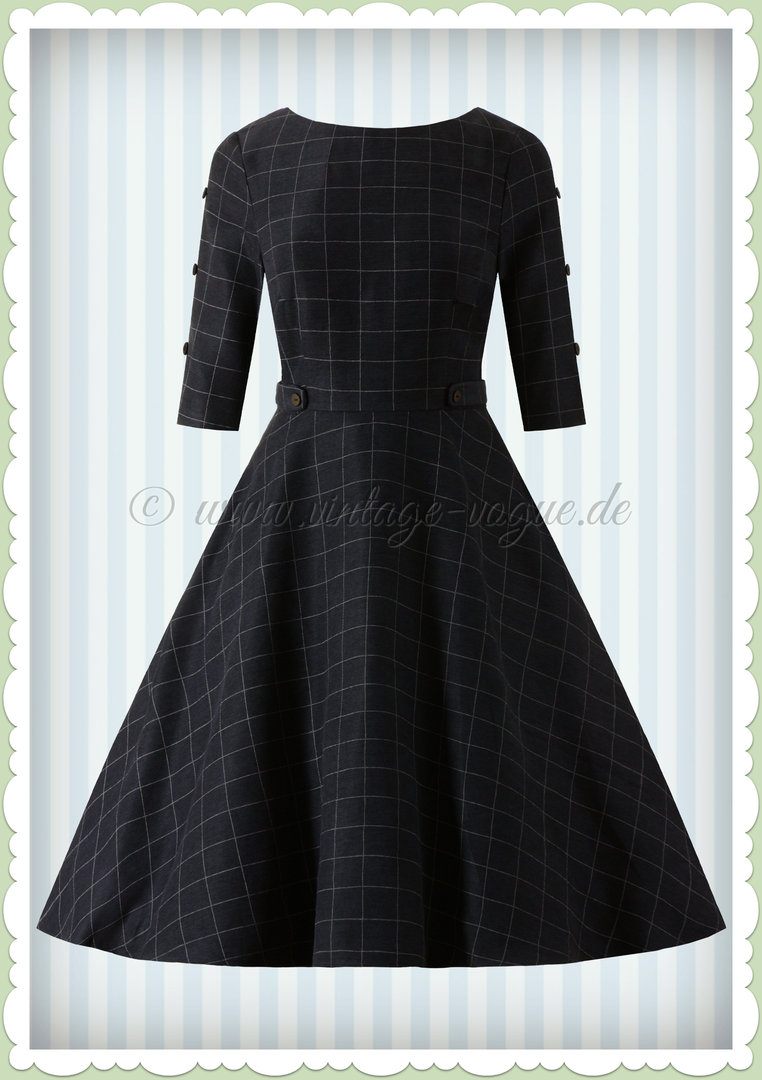 Banned 50er Jahre Retro Tartan Swing Kleid - Cheeky Check - Navy