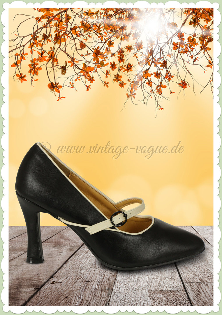 Banned 60er Jahre Rockabilly Vintage Riemchen Pumps - Far Out - Schwarz