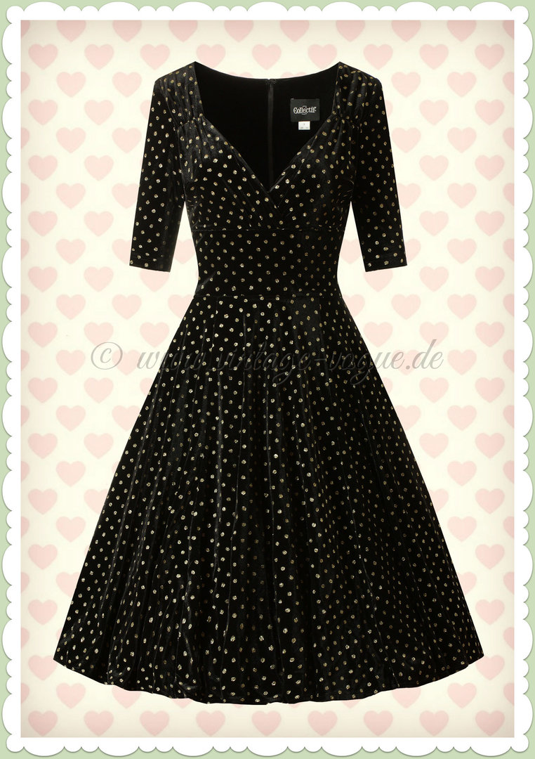 Collectif 40er Jahre Pin-Up Retro Punkte Glitzer Swing Kleid - Trixie - Schwarz Gold