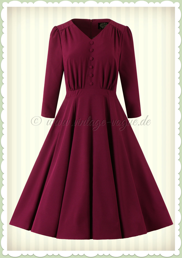 Hearts & Roses 50er Jahre Rockabilly Swing Kleid - Pretty Plum - Lila