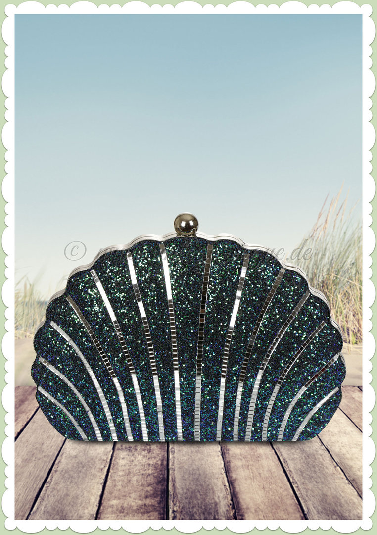 Collectif 50er Jahre Rockabilly Retro Muschel Glitzer Clutch - Mermaid Realness - Türkis