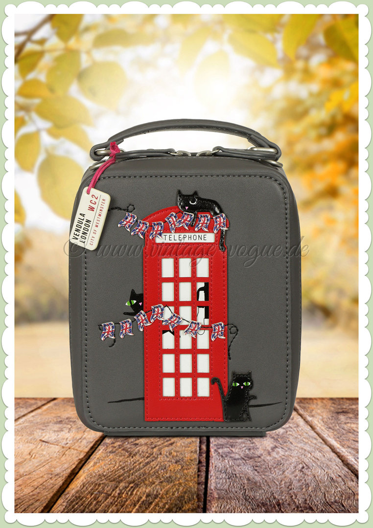 Vendula London 60er Jahre Retro Handtasche - London Cats - Grau