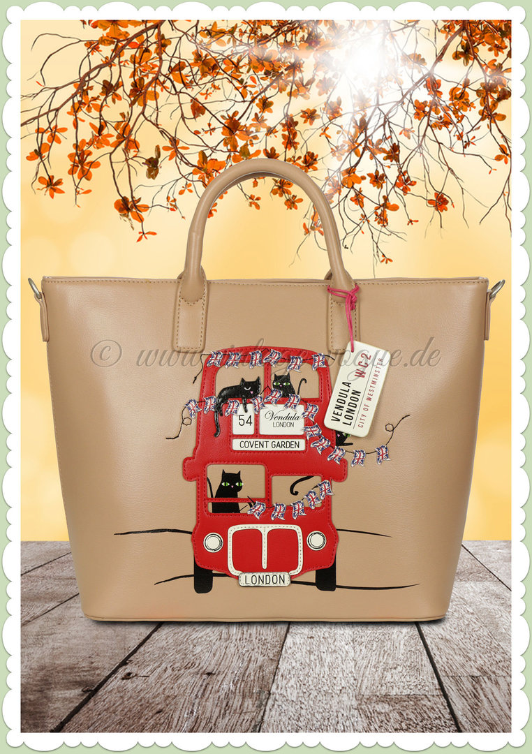 Vendula London 60er Jahre Retro Handtasche - London Cats - Beige