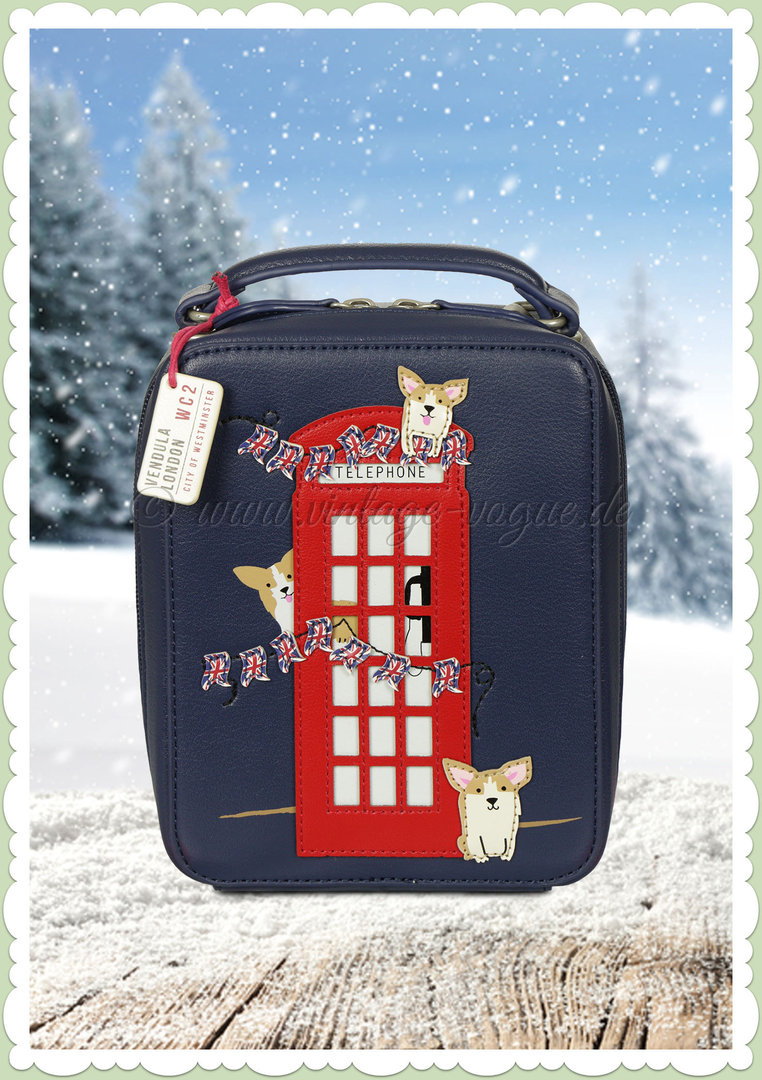 Vendula London 60er Jahre Retro Handtasche - London Corgis - Blau