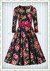 Hearts & Roses 50er Jahre Rockabilly Floral Kleid - Hailey - Navy Blau