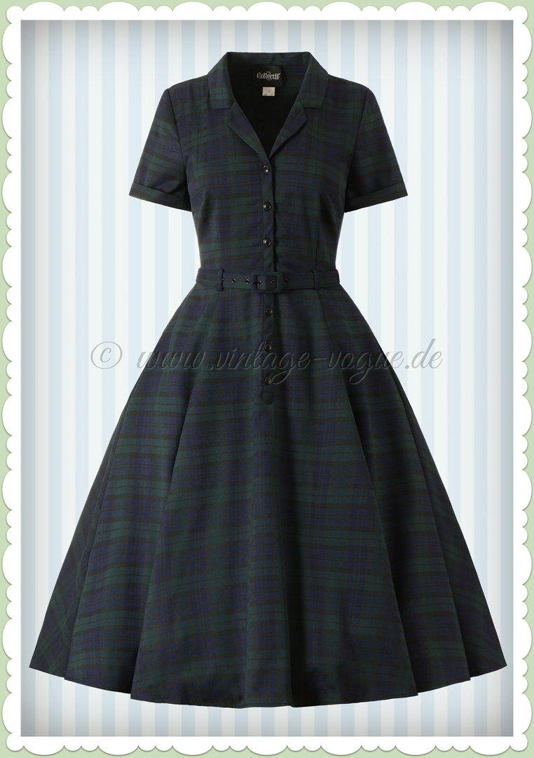 Collectif 40er Jahre Vintage Blackwatch Tartan Kleid - Caterina - Navy Grün