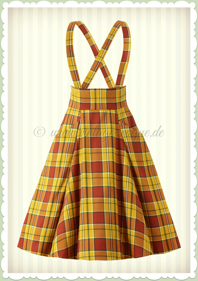 Collectif 50er Jahre Vintage Tartan Petticoat Rock - Alexa - Orange Gelb