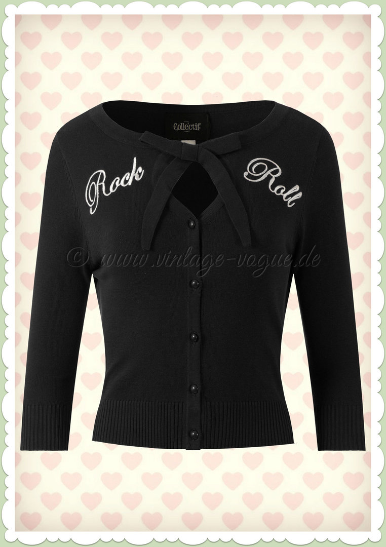 Collectif 50er Jahre Retro Rock 'n' Roll Strickjacke - Charlene - Schwarz