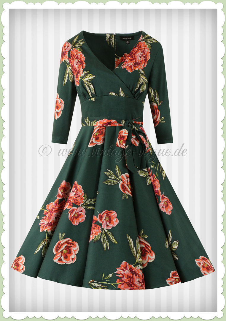 Timeless London 50er Jahre Rockabilly Blumen Kleid - Madison - Petrol