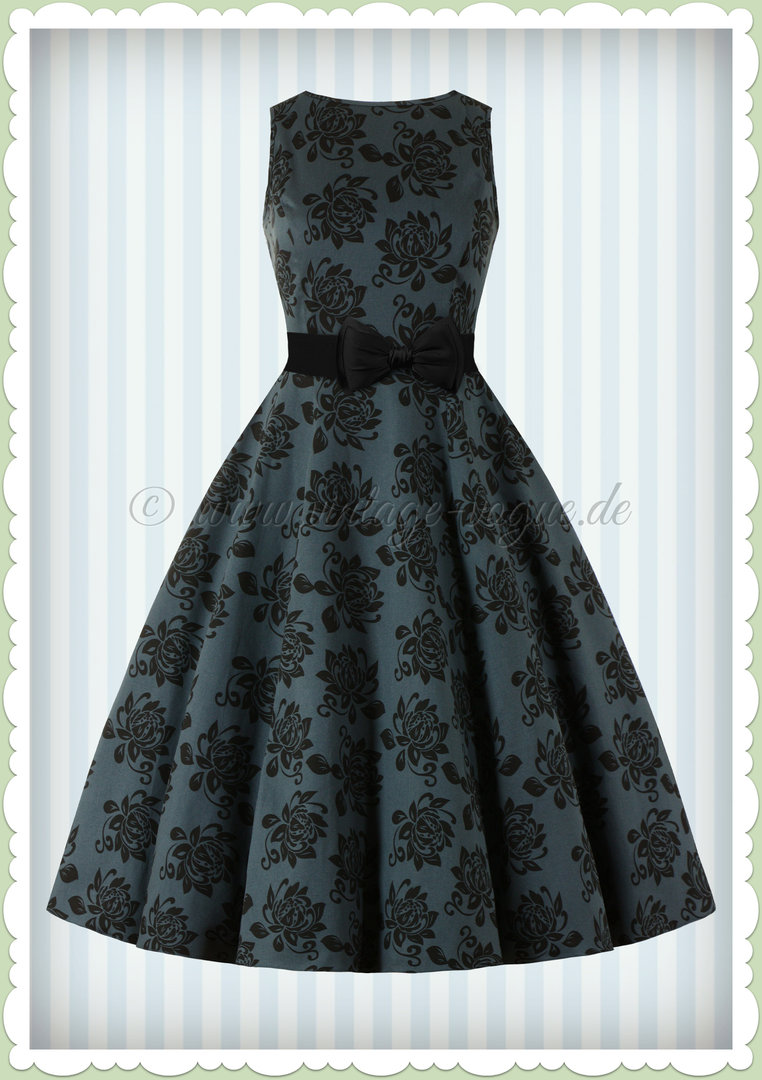 Lady Vintage 40er Jahre Vintage Brocade Kleid - Hepburn Dress - Navy Blau