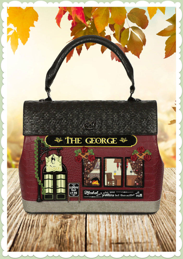 Vendula London 60er Jahre Retro Handtasche - The George - Weinrot