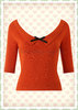 Collectif 40er Jahre Rockabilly Vintage Basic Pullover - Bapette - Orange