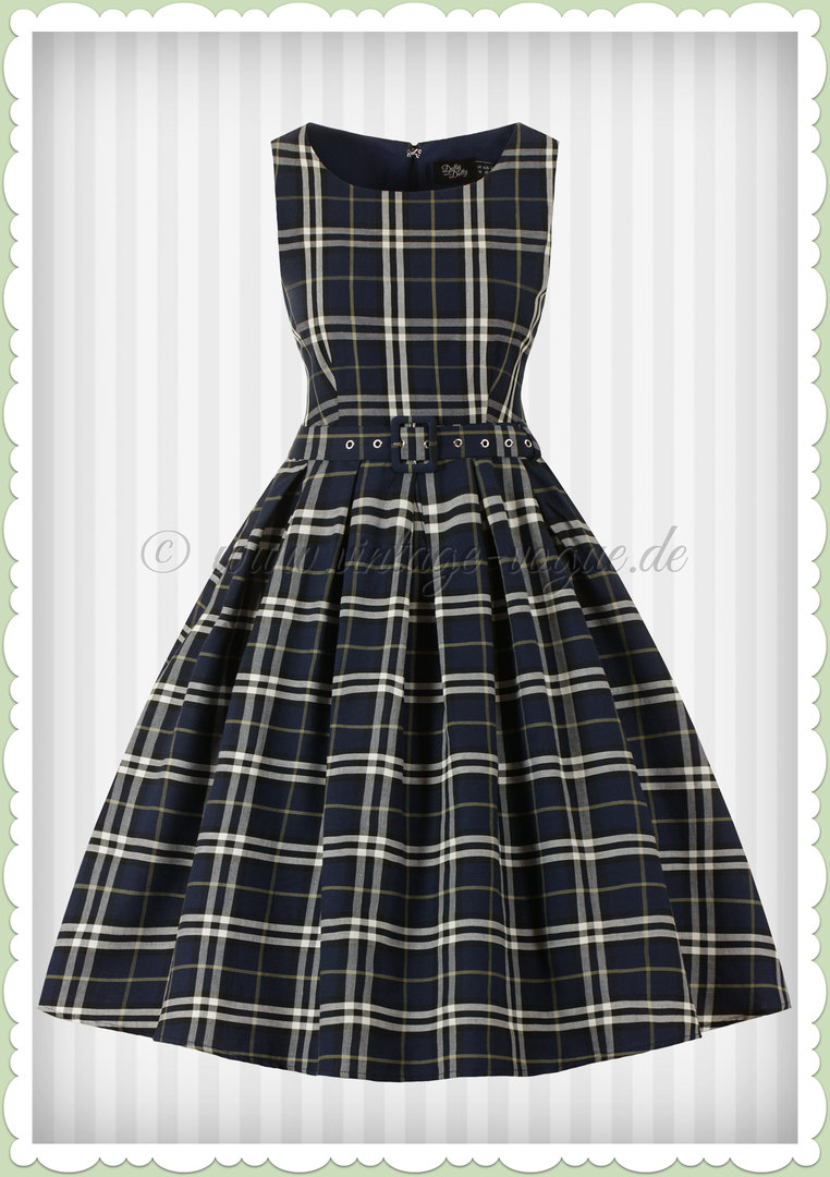 Dolly & Dotty 50er Jahre Rockabilly Vintage Tartan Kleid - Annie - Navy