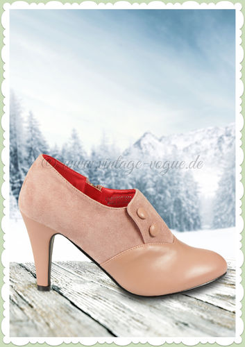 Collectif Lulu Hun 40er Jahre Retro Stiefel Ankle Boots - Maria - Rosa
