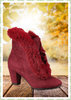 Collectif 50er Jahre Vintage Ankle Boot Stiefelette - Tatiana Fur - Weinrot