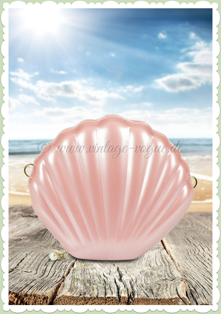 Miss Millinery 50er Jahre Rockabilly Retro Muschel Clutch - Seashell - Rosa