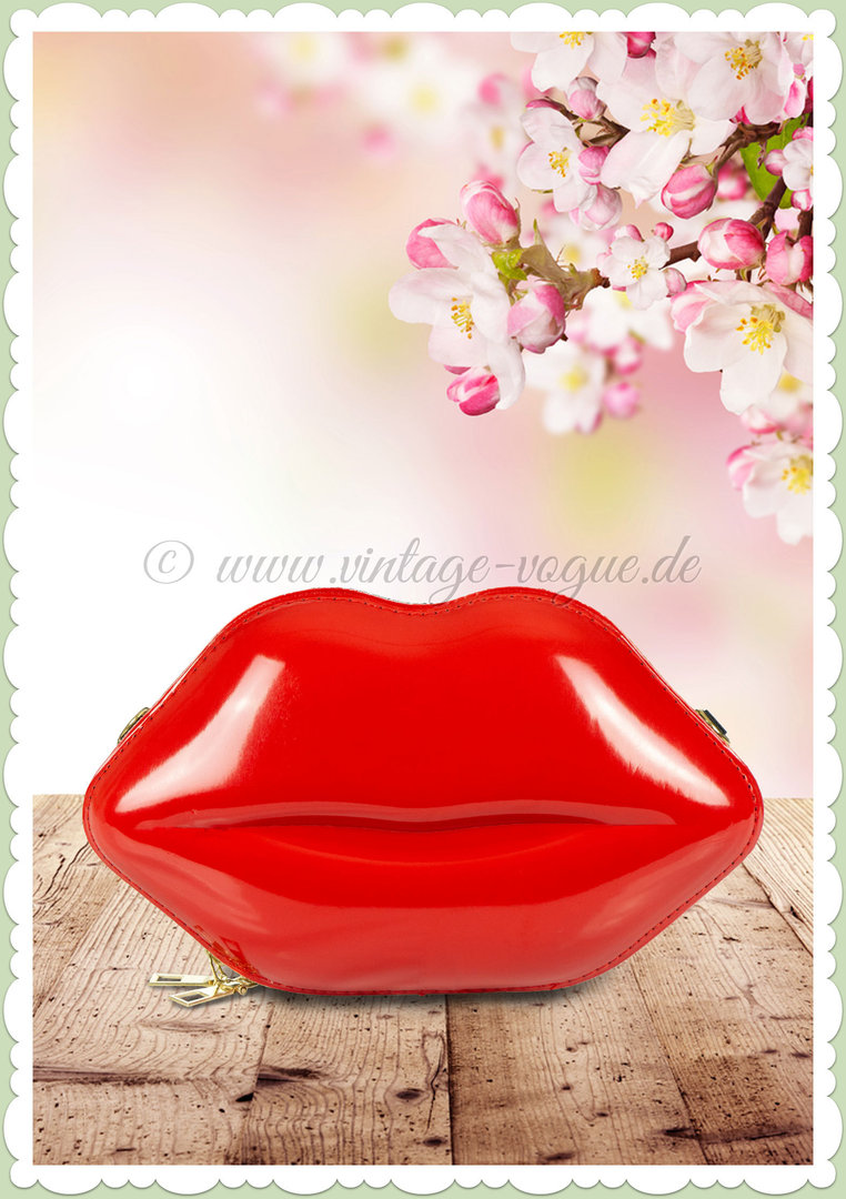 Miss Millinery 50er Jahre Rockabilly Retro Lippen Clutch - Lips - Rot