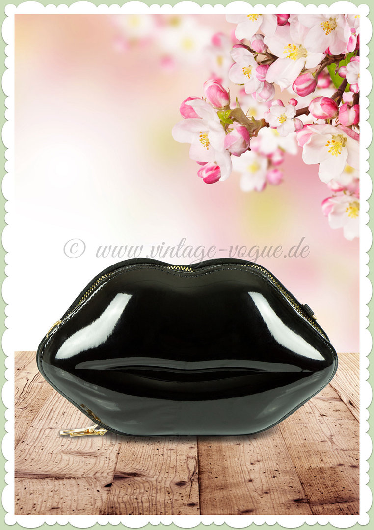 Miss Millinery 50er Jahre Rockabilly Retro Lippen Clutch - Lips - Schwarz