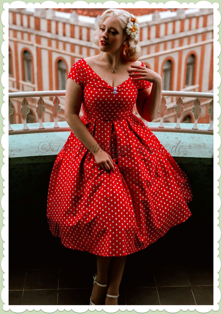 Dolly & Dotty 50er Jahre Rockabilly Polka Dot Kleid - Lilij - Rot
