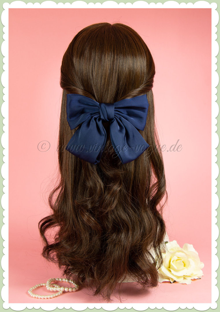Miss Millinery 50er Jahre Rockabilly Vintage Satin Haarschleife - Navy