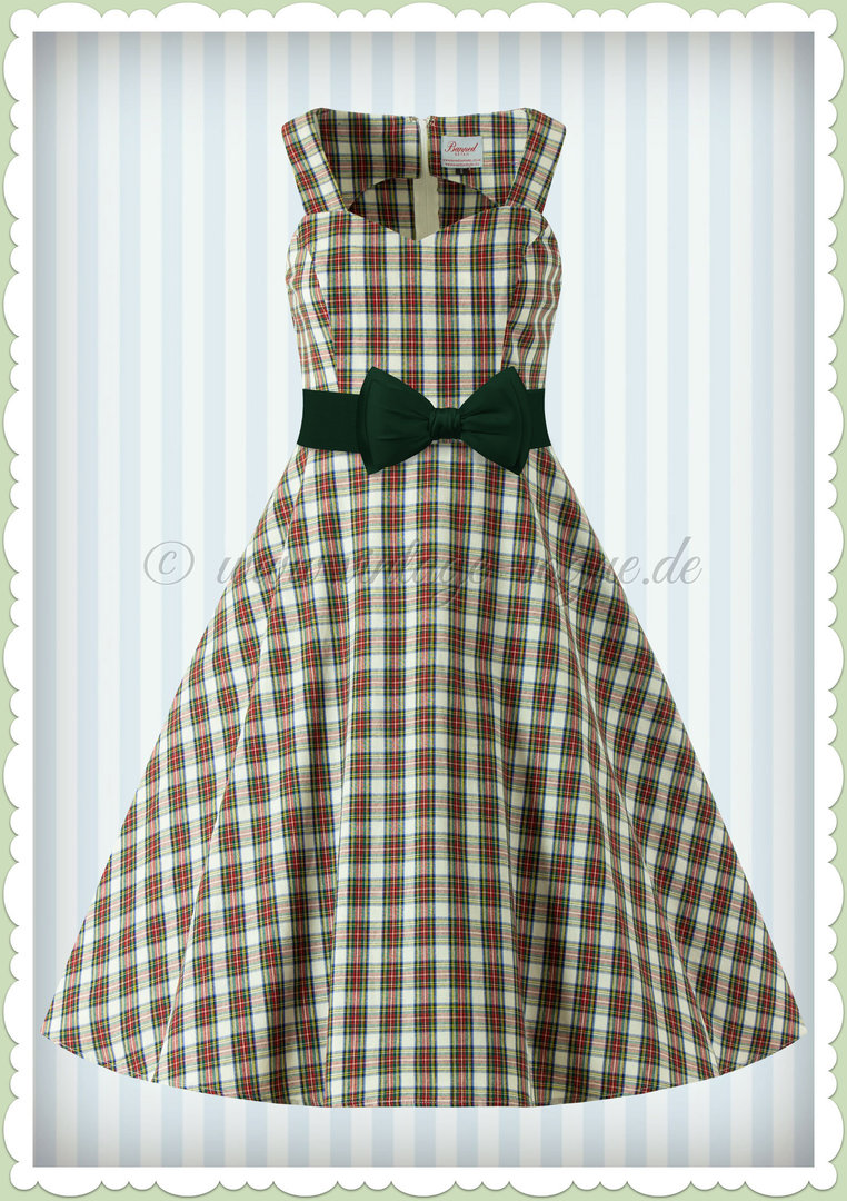 Banned 50er Jahre Vintage Rockabilly Tartan Kleid - Scot Dress - Rot Creme