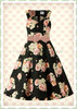 Banned 50er Jahre Vintage Rockabilly Floral Kleid - English Flower - Schwarz