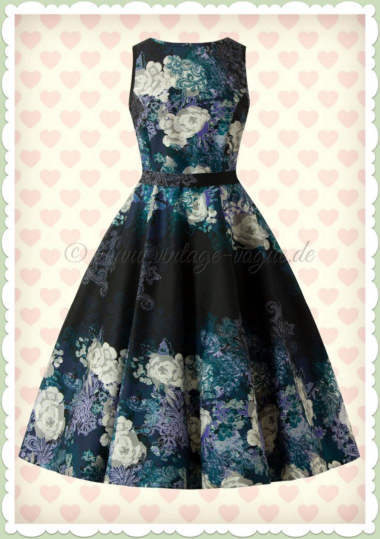Lady Vintage 40er Jahre Petticoat Floral Kleid Hepburn Dress Grau Blau