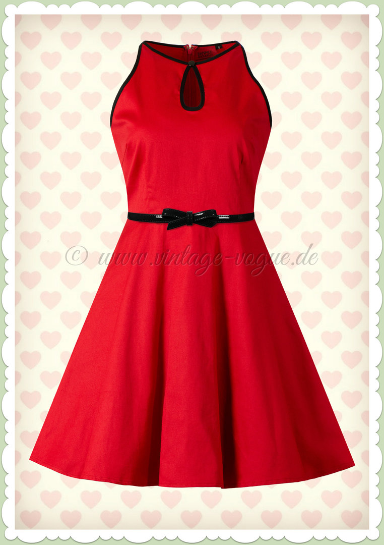 Banned 50er Jahre Rockabilly Keyhole Swing Kleid - Rockin Red - Rot