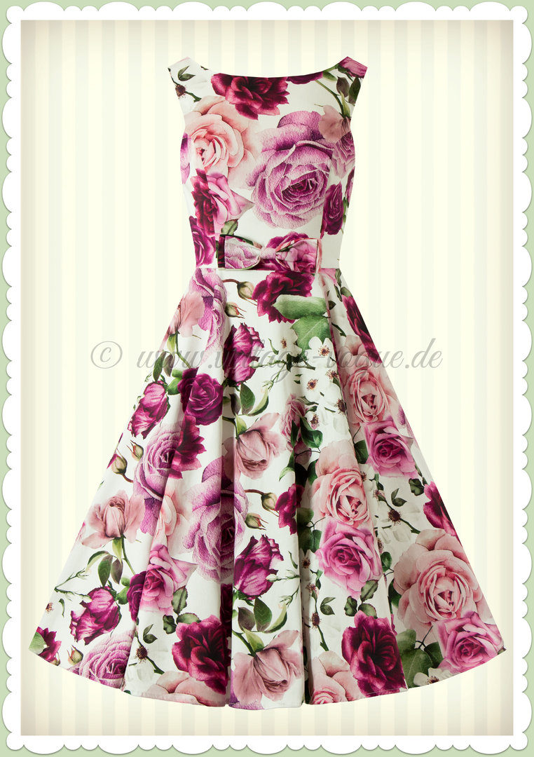 Hearts & Roses 50er Jahre Retro Swing Floral Kleid - Alice Floral - Weiß