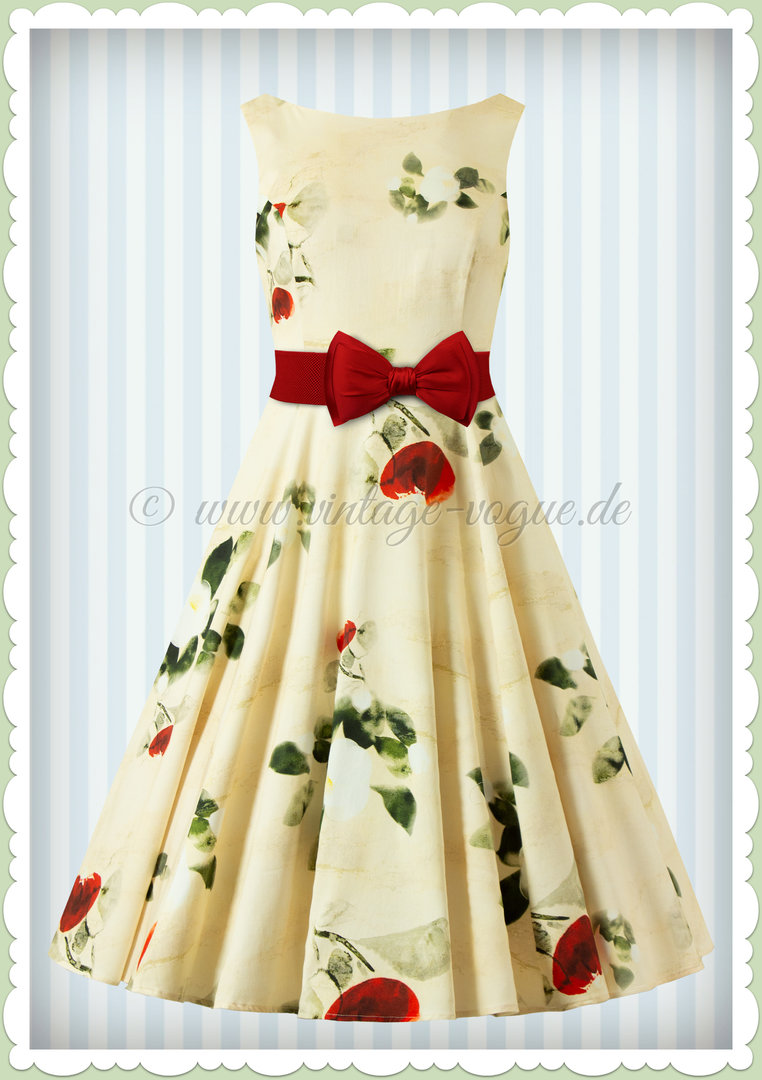 Hearts & Roses 50er Jahre Retro Swing Floral Kleid - Martha Floral - Cremeweiß