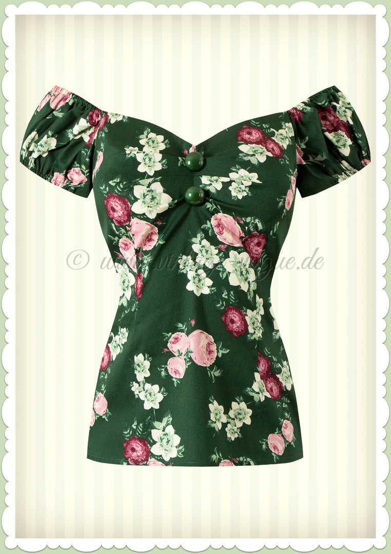 Collectif 50er Jahre Floral Pin Up Vintage Top - Dolores - Dunkelgrün