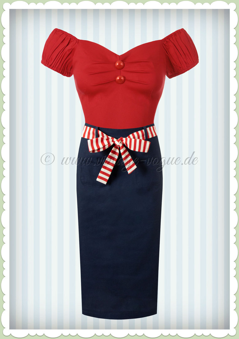 Collectif 50er Jahre Vintage Pencil Maritim Bleistift Rock - Marinella - Navy