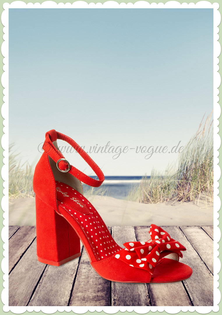 "Ruby Shoo 50er Jahre Retro Riemchen Peep Toes ""Dorry"" Rot"