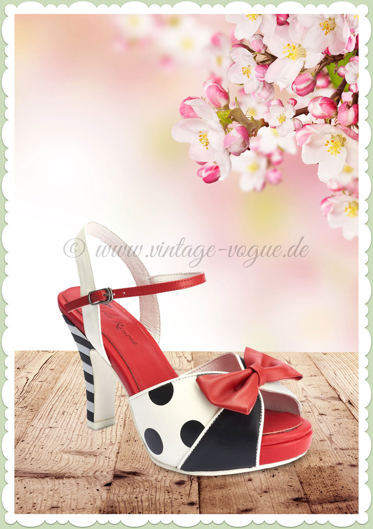 Lola Ramona 60er Jahre Retro Vintage Peep Toes Pumps - Angie All Hero - Schwarz Rot Weiß